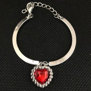 Red Crystal Heart Silver Plated Bracelet